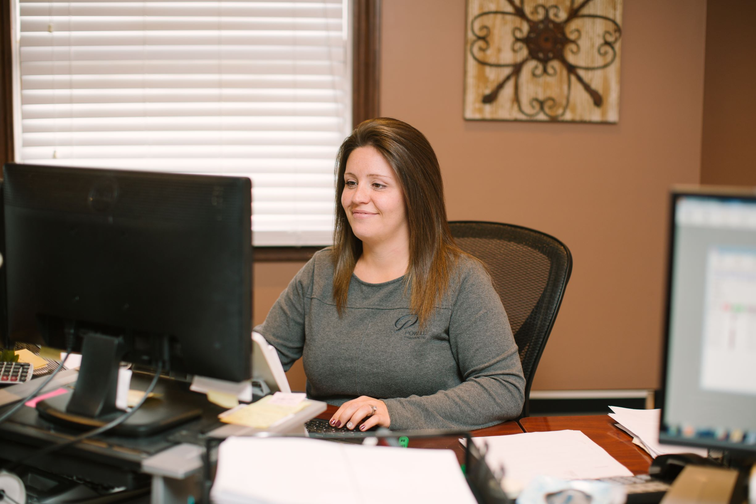 Amanda at desk