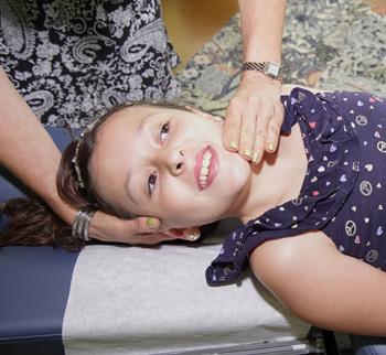 Child being adjusted