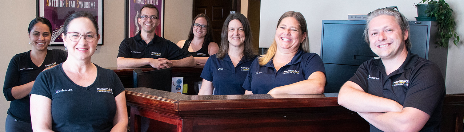 Marketplace Chiropractic team at front desk