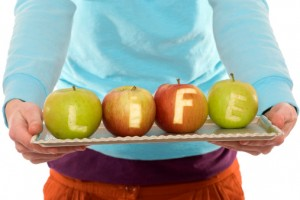apples with the word life on them