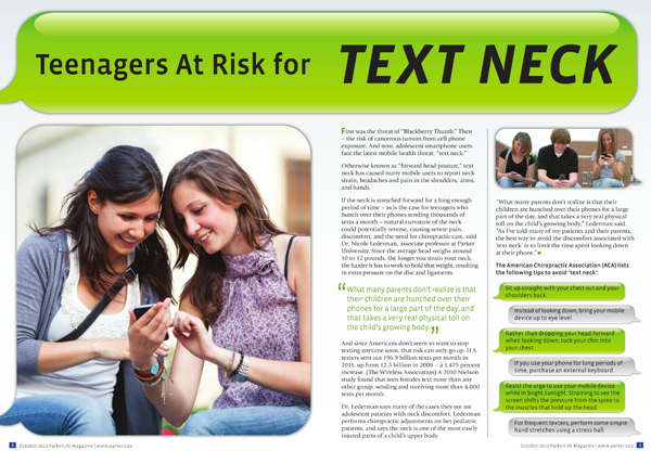 Teenagers at risk for text neck