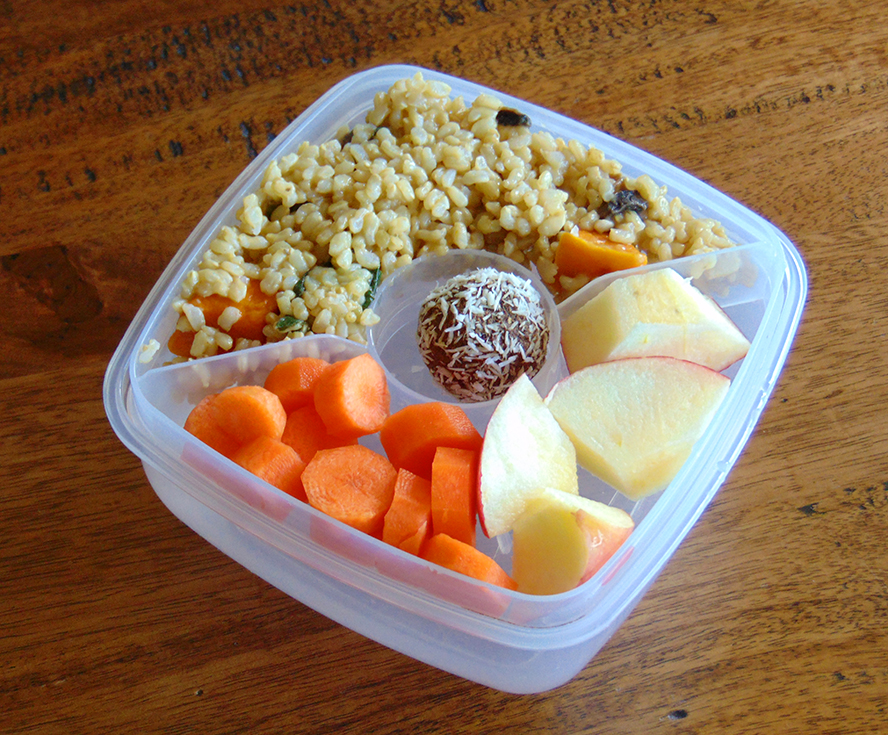 Option 1: Vegetable Risotto (GF, DF), Carrots, Apple, Bliss ball