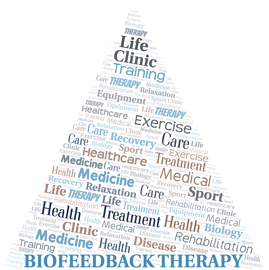 Biofeedback Therapy Word Cloud. Wordcloud Made With Text Only.