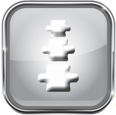 White Buttons With Chrome Frame. Round And Square Glass Shiny 3d