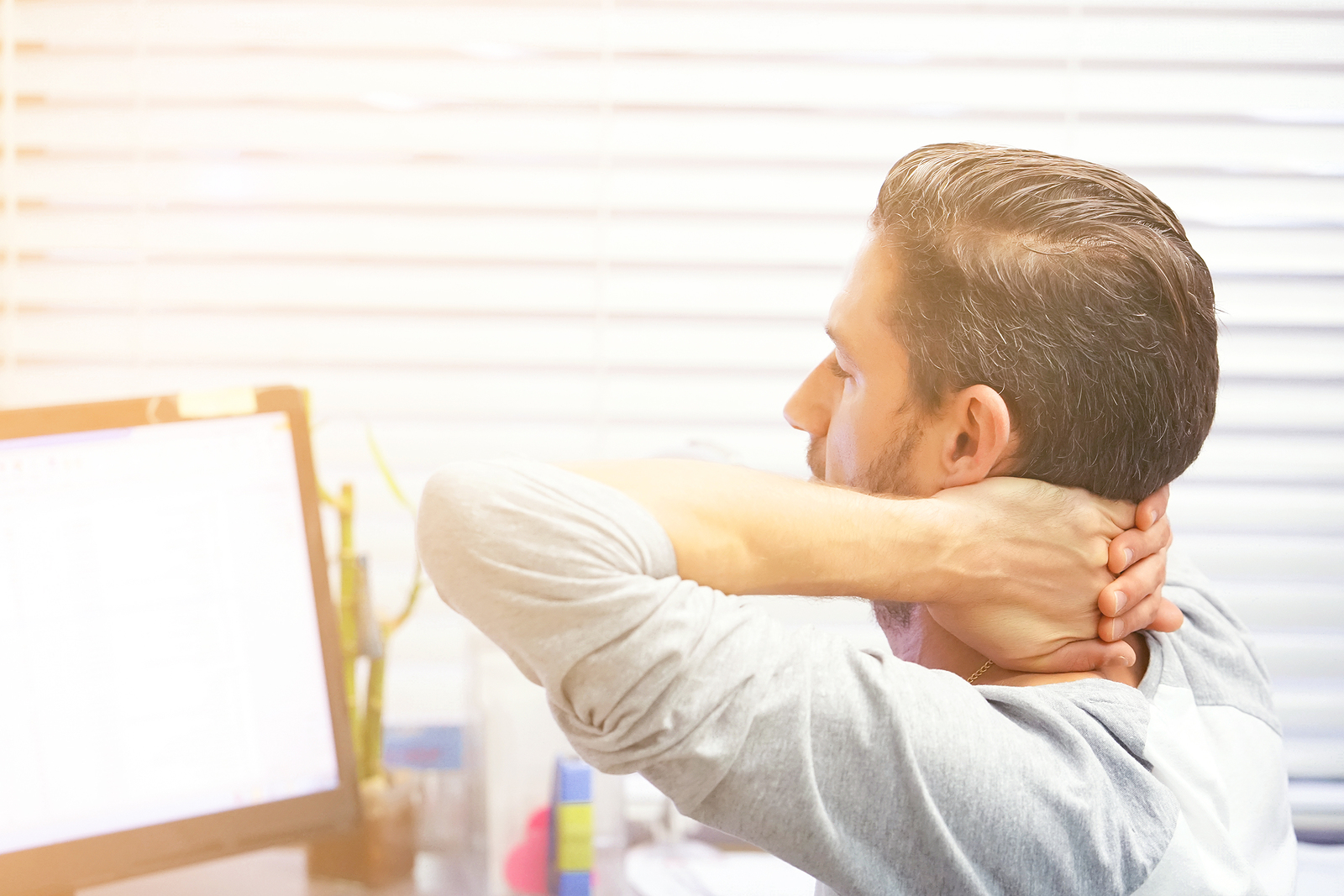 Office Worker Male Suffering From Neck Pain. Male Feeling Tired,