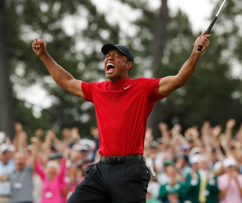 Woods elated after winning The Masters in 2o19 despite having had surgery only 2 years prior.