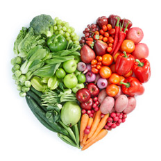 fruits and vegetables in a heart shape