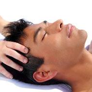 man receiving indian head massage