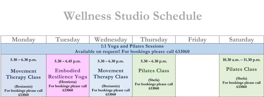 Wellness Studio Schedule - March 2021