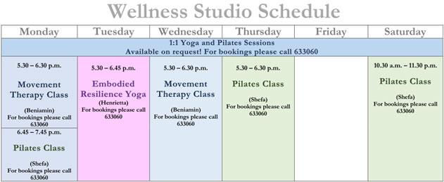 Wellness Studio Schedule - October 2021