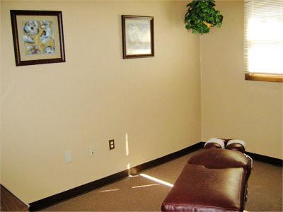 Spacious chiropractic adjustment rooms.