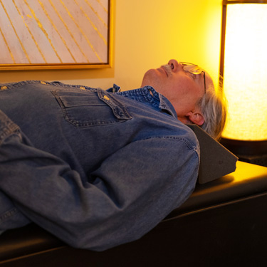 Patient on Spinal Decompression table
