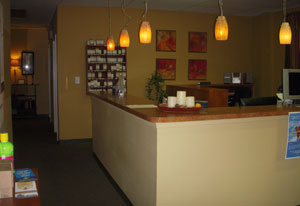 You will be personally greeted at the Stynchula Wellness & Sports Rehab Center Front Desk.