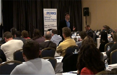 Dr. Nathan Berner speaking to a group of doctors in Philadelphia.