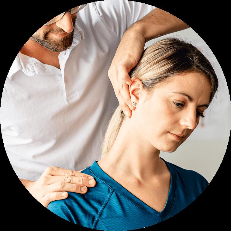 chiropractic patient getting neck adjustment