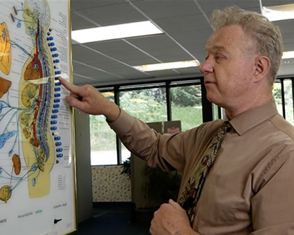 Doctor pointing at spine illustration