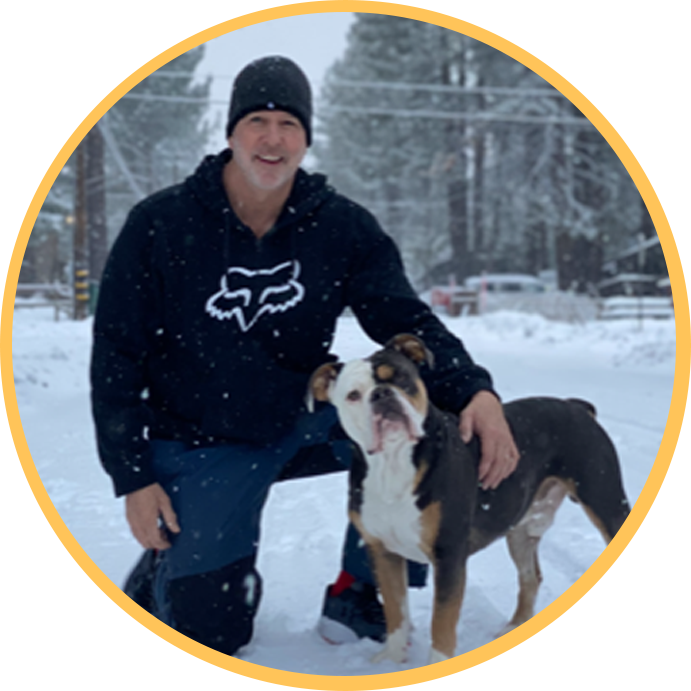 Dr. Faggiano with dog in snow