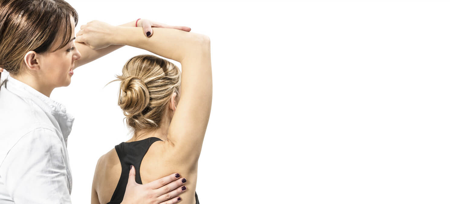 Woman with arm over head