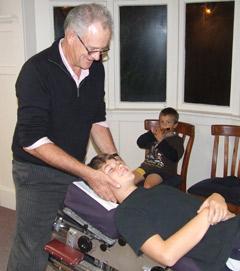 Kerikeri Road Chiropractic Dr. Brian Lonsdale adjusting a patient.
