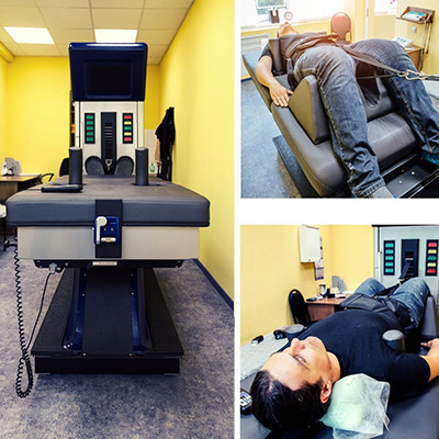 images of patients on a decompression table