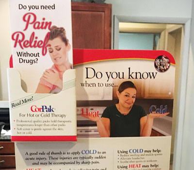 Hot & cold packs for pain relief at Casses Chiropractic Clinic, PC