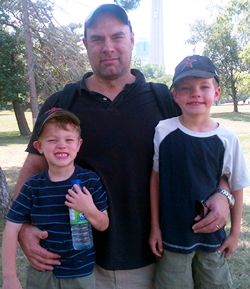 Michael with sons Nicholas and Linden.
