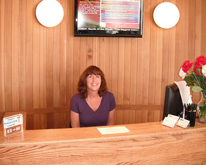 Front desk and receptionist