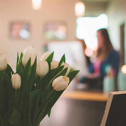 Flowers on reception desk