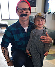 Dr. Dave and a Patient in costume