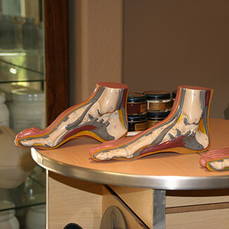 Foot examples on desk
