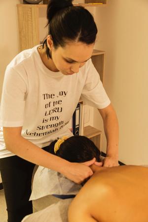 Massage therapist doing a massage