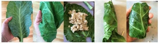 Making stuffed collard greens