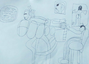 A drawing of a chiropractic appointment by a chiro kid