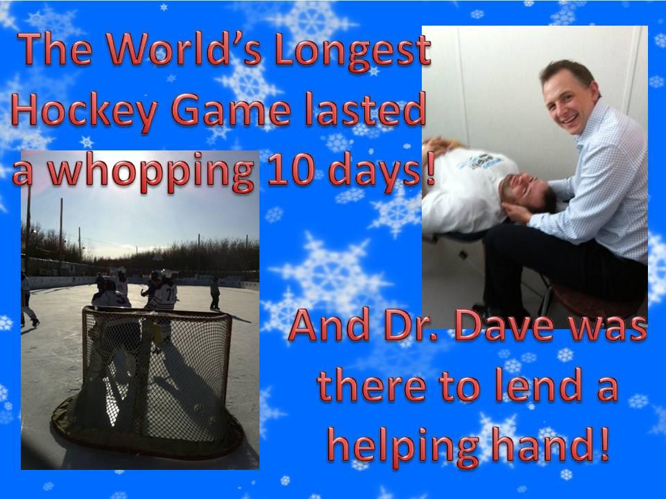 Dr. Brisbin of Brisbin Family Chiropractic in Sherwood Park volunteers at the World's Longest Hockey Game
