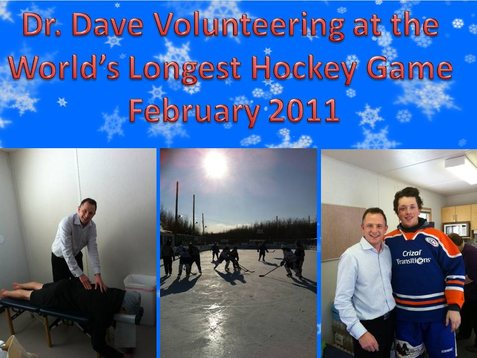 Dr. Brisbin of Brisbin Family Chiropractic adjusts a player at the World's Longest Hockey Game
