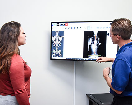 Doctor pointing at xray