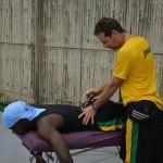 World Record Holder 100m, Usain Bolt getting adjusted.