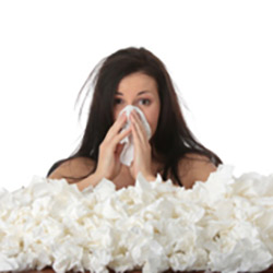 Woman with tissues
