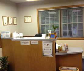 Front desk at Dr. Jeffrey Thorne's office.