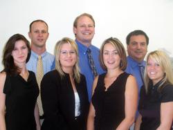 The Kent Kangley Chiropractic Team; Back Dr. Troy Holup, Dr. Kevin Andersen, Dan Morris LAc Front: Beckie, Jessi, Becky Elder LMP, Katie Greenfield LMP