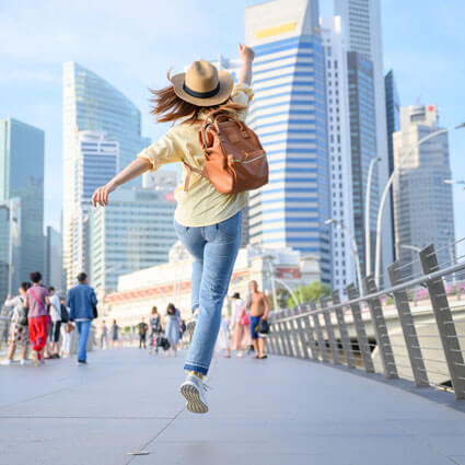 happy woman in singapore