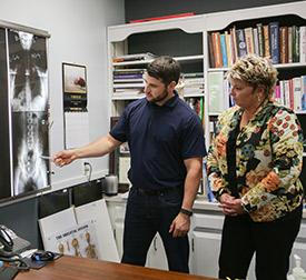 Dr. Brad Uthoff showing xrays