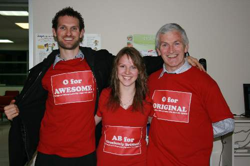 Dr Aaron, Katie and Dr Simon at our 'Love your blood type' health care class
