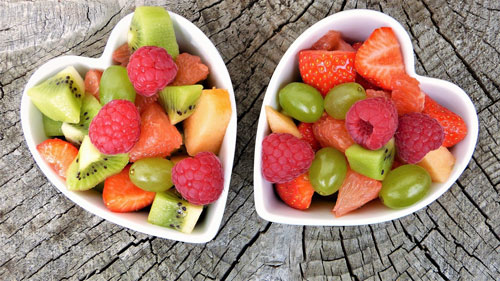 Fruit in Heart Bowls