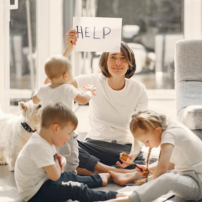 Mom in distressed with children
