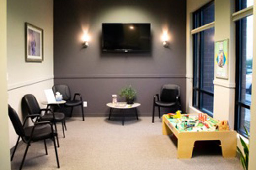 A chiropractic waiting room