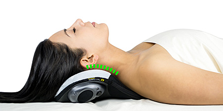 Woman using CerviPedic neck support