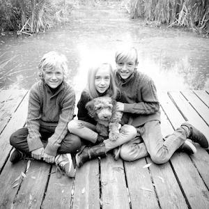 Kids on wooden pier