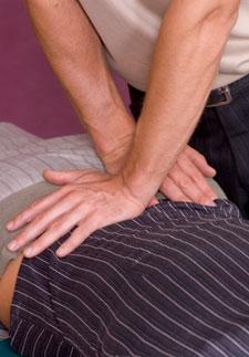 Chiropractic adjustment closeup