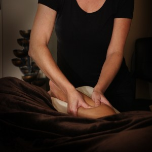 Patient receiving manual lymphatic drainage massage